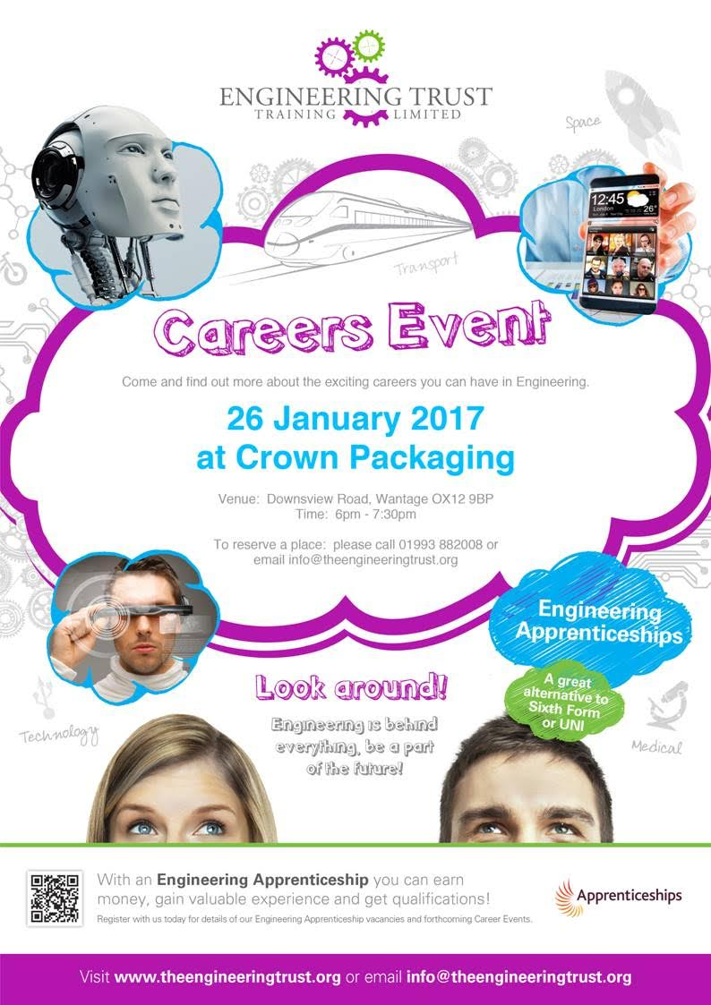 Engineering Trust Training Limited will be holding an Engineering Apprenticeship event at Crown Packaging on the 26 January 2017
